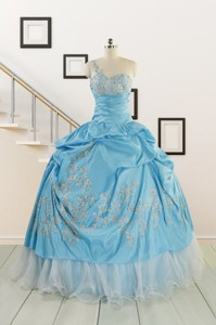 Pretty One Shoulder Appliques Quinceanera Dress In Aqua Blue