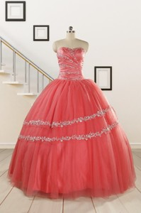 New Style Watermelon Quinceanera Dress With Beading