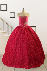Customize Special Fabric Beading Sweet 16 Dress In Coral Red