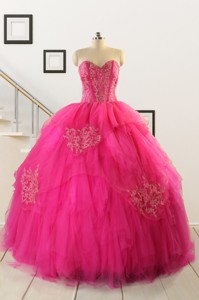 Pretty Appliques Dress For 15 In Hot Pink