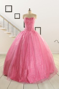 Simple Sweetheart Sequins Quinceanera Dress In Rose Pink