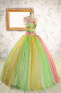 Elegant Sweet 16 Dress In Multi-color With Beading
