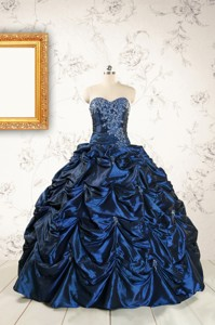 Exclusive Appliques Navy Blue Quinceanera Dress