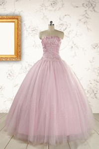 Light Pink Strapless Simple Sweet 16 Dress With Appliques