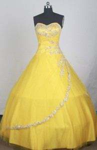 Elegant Ball Gown Sweetheart Neck Floor-length Yellow Quinceanera Dress
