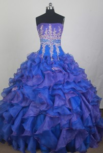 Exclusive Ball Gown Strapless Floor-length Blue Quinceanera Dress