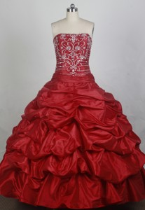 Elegant Ball Gown Strapless Floor-length Red Quincenera Dress