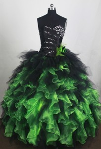 Exclusive Ball Gown Sweetheart Floor-length Black And Green Quincenera Dress