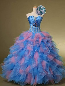 Beautiful Strapless Quinceanera Dress With Hand Made Flowers And Beading