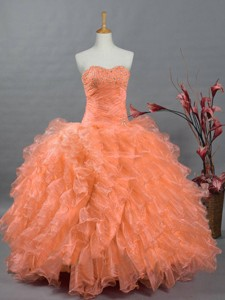 Fashionable Sweetheart Quinceanera Gowns With Beading And Ruffles
