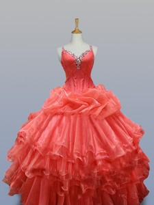 Ruffled Layers Straps Quinceanera Dress With Beading