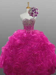 Gorgeous Quinceanera Dress With Beading And Rolling Flowers