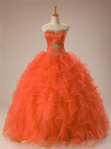 Gorgeous Sweetheart Beaded Quinceanera Gowns In Organza