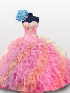 Perfect Sweetheart Quinceanera Dress With Sequins And Ruffles