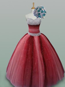 Fashionable Spaghetti Straps Quinceanera Dress With Beading In Wine Red
