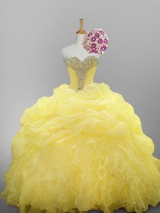 Pretty Sweetheart Beaded Quinceanera Dress With Ruffled Layers