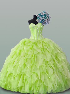 Fashionable Sweetheart Beaded And Ruffles Dress For Quince