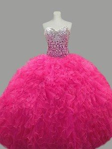 Puffy Sweetheart Hot Pink Quinceanera Dress With Beading And Ruffles