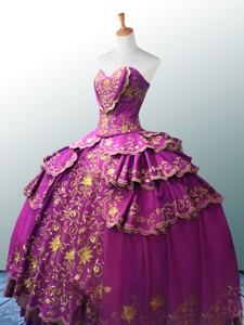 Beautiful Sweetheart Ball Gown Fuchsia Quinceanera Dress With Appliques