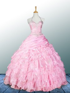 Pretty Halter Top Pink Quinceanera Dress With Appliques