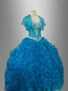 Classical Organza Sweet 16 Dress With Beading And Ruffles