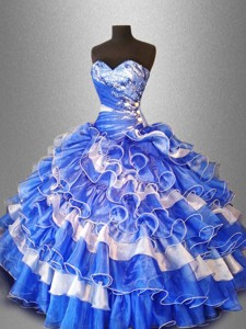 Sweet Beaded And Ruffles Quinceanera Gowns In Organza