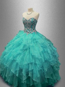 Popular Beaded and Ruffles Sweet 16 Gowns with Sweetheart