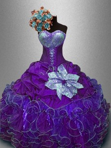 New Arrivals Sequined Purple Sweet 16 Gowns with Ruffles