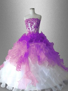 Luxurious Strapless Appliques Quinceanera Gowns in Organza
