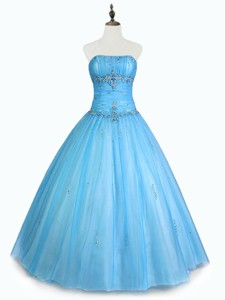 Simple Strapless Beaded Quinceanera Dress With Floor Length