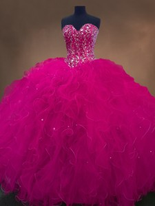 Luxurious Sweetheart Beaded Quinceanera Dress In Hot Pink