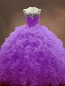 Exclusive Sweetheart Lilac Quinceanera Dress With Beading And Ruffles
