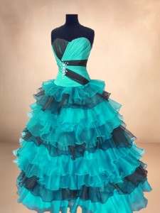 Fashionable Organza Sweet 16 Gowns With Ruffled Layers