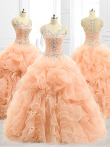 Cheap Straps Beading And Ruffles Quinceanera Dress In Peach