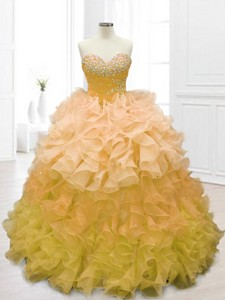 Fashionable Sweetheart Beading And Ruffles Quinceanera Dress In Gold