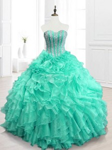 Best Selling Beading And Ruffles Sweet 16 Dress In Apple Green
