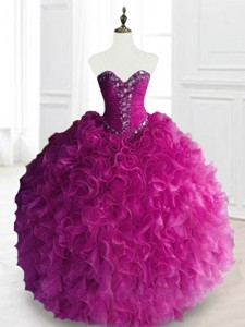 Fashionable Beading And Ruffles Quinceanera Dress In Fuchsia