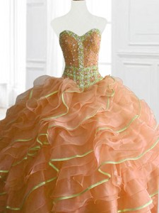 Latest Ball Gown Beading And Ruffles Sweet 16 Dress