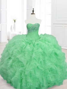 Elegant Beading And Ruffles Sweetheart Quinceanera Dress In Green