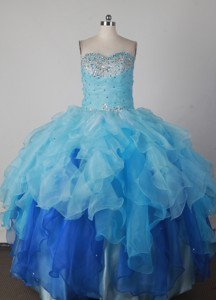 Low Price Ball Gown Strapless Floor-length Blue Quinceanera Dress