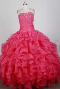 Romantic Ball Gown Strapless Floor-length Florid Quinceanera Dress