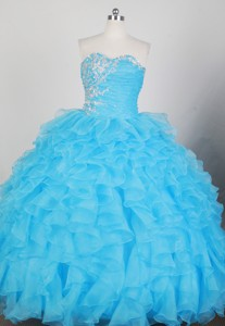 Romantic Ball Gown Strapless Floor-length Teal Blue Quinceanera Dress