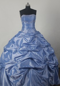 Cute Ball Gown Strapless Floor-length Blue Quinceanera Dress