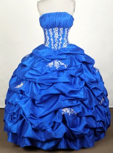 Simple Ball Gown Strapless Floor-length Blue Quinceanera Dress