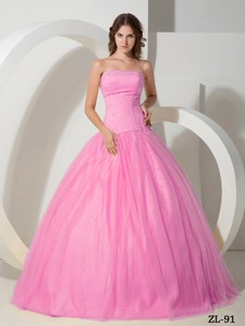 Rose Pink Strapless Floor-length Tulle Beading Quinceanera Dress