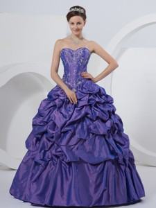Sweetheart Embroidery Taffeta Floor-length Quinceanera Dress Purple