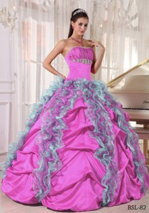 Ball Gown Strapless Floor-length Organza and Taffeta Beading and Ruffles Quinceanera Dress