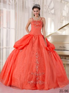Rust Red Ball Gown Spaghetti Straps Floor-length Taffeta and Organza Appliques Quinceanera Dress