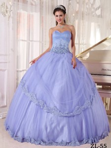 Lialc Ball Gown Sweetheart Floor-length Taffeta and Tulle Appliques Quinceanera Dress