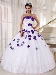 White And Purple Strapless Beading Quinceanera Dress